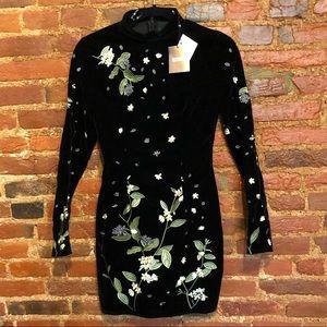 🆕velvet embroidered body on dress black